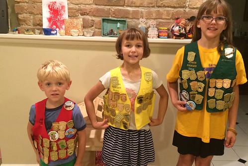 J,M,M wearing vests