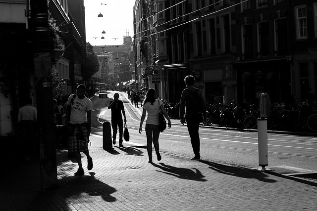 dancing shadows on Amstelstraat, Amsterdam