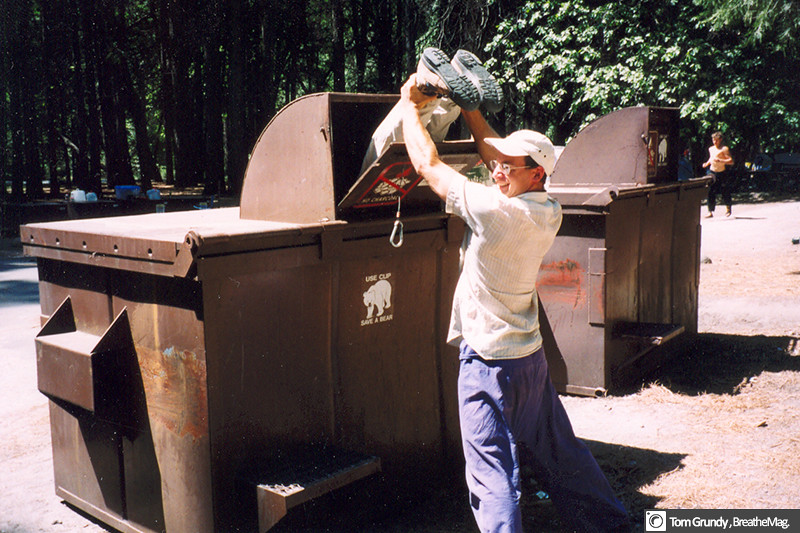 Pretending to dumpster dive in the bear proof dumpsters in Camp 4 Yosemite Valley.