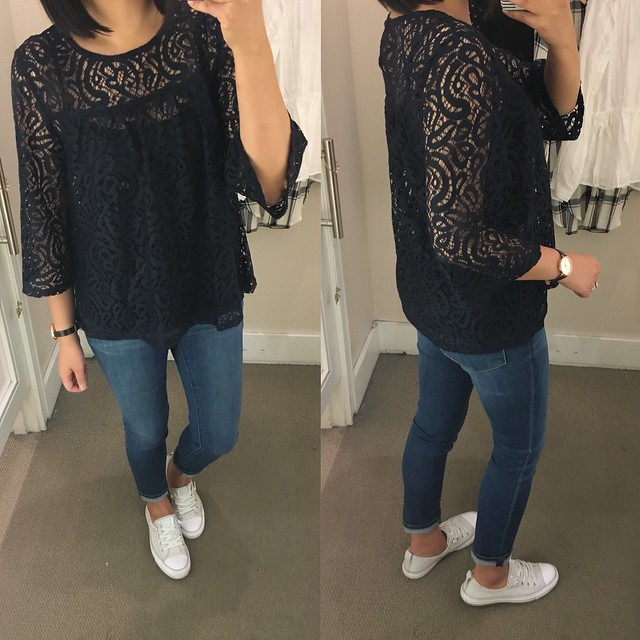 Lace Bell Sleeve Top, size XS regular