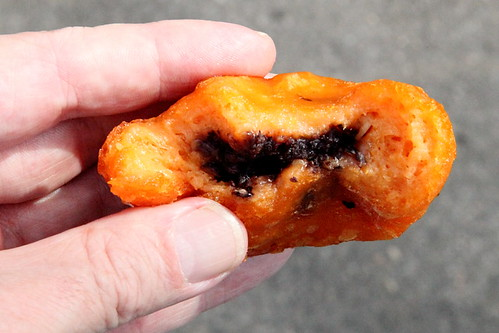 Red-bean-filled sweet potato fritter (biteaway view), Sunset Park, Brooklyn | by Eating In Translation