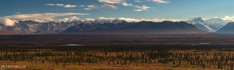 Alaska Range in the morning sun- Denali Highway