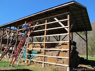 (24-6) We put our houseguests to work. Joe and his brother closing in the south side of the hay barn - FarmgirlFare.com | by Farmgirl Susan