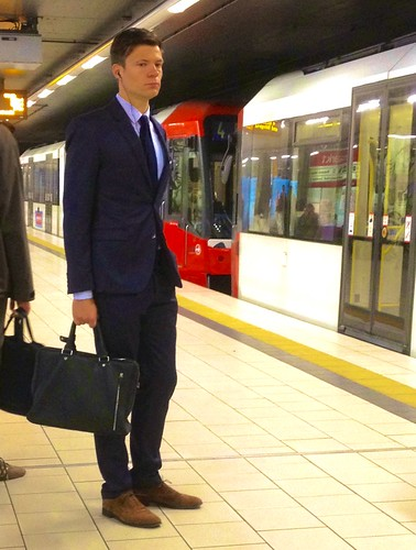 Brown Shoes White Trousers And Blue Suit