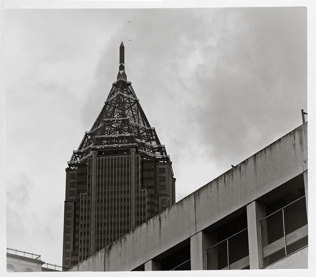 Two Hawks Buzzing the Bank of America Building, Midtown Atlanta