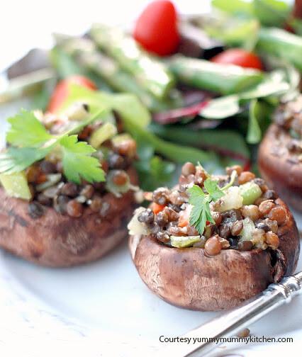 Lentil-Stuffed Portobello Mushrooms