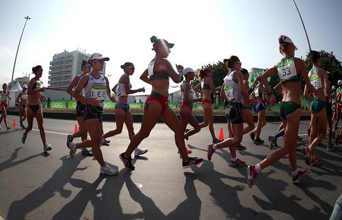 Equipo femenino de marcha se despide de Rio 2016