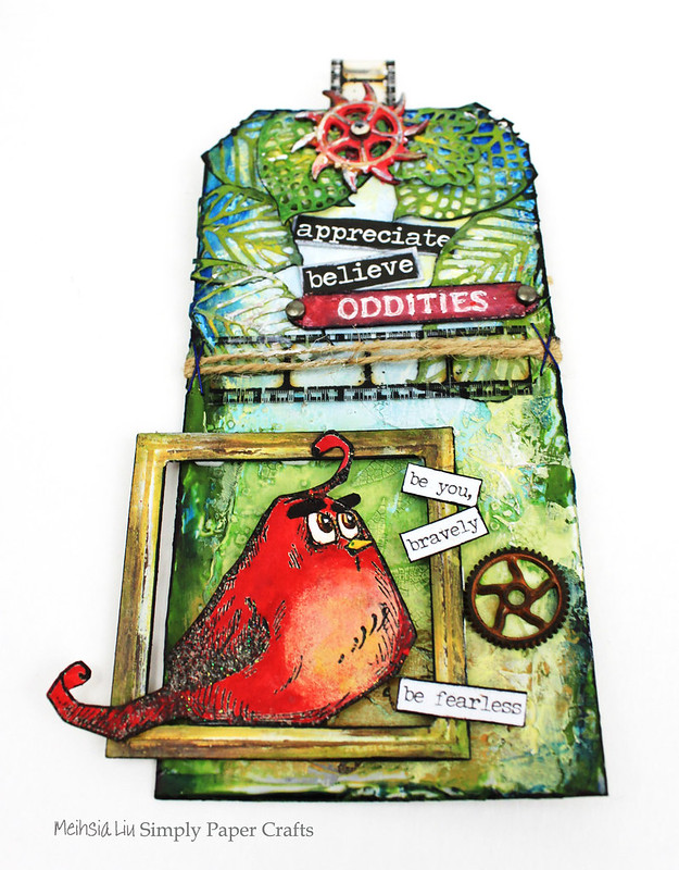 Meihsia Liu Simply Paper Crafts Mixed Media Tag Angry Bird Moive Inspiration Simon Says Stamp Monday Challenge Tim Holtz
