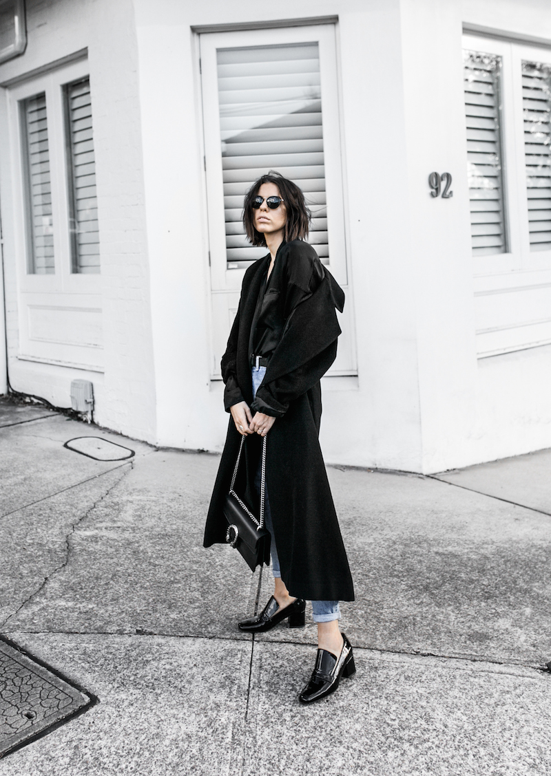 denim street style inspo fashion blogger minimal black outfit modern legacy bassike farfetch block heel loafer Gucci Dionysus bag (2 of 8)