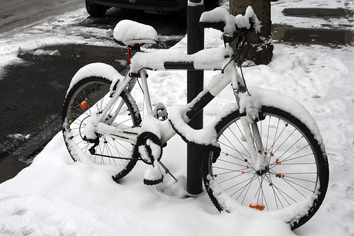 snowy bike | by David Lebovitz