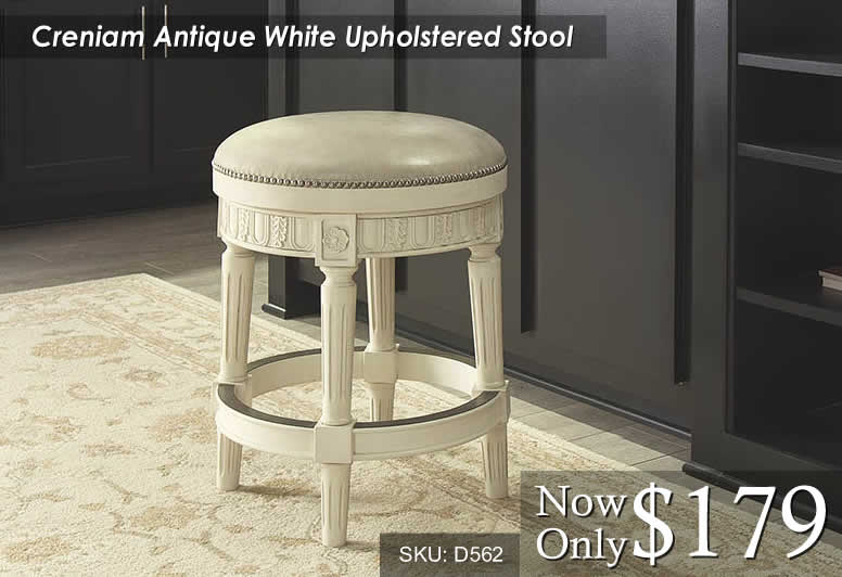 Crenium Antique White Upholstered Stool