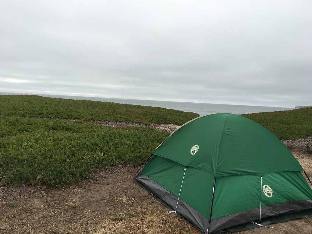 our tent a 100 yards away from the Pacific waves