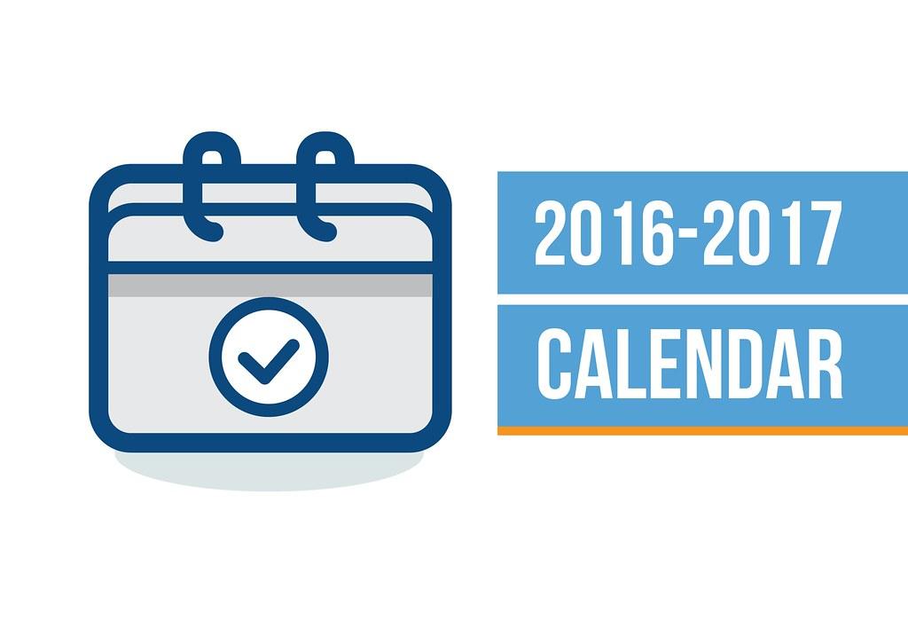 Icon of calendar with text boxes '2016-2017 Calendar'