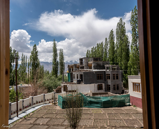 Zanskar Range (and building under construction!) from guest house window