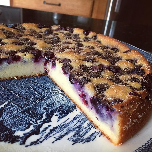 The texture of this is fantastic- like a cross between a custard and a cake. #blueberrybreakfastcake @kingarthurflour