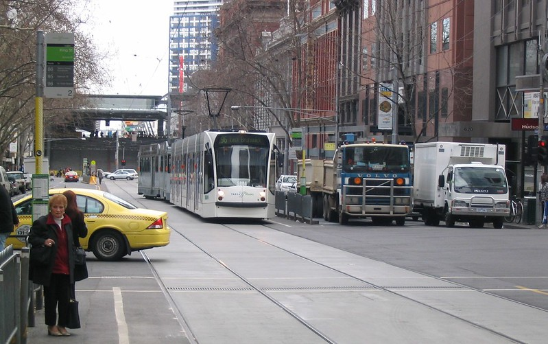 Bourke and King Street tram stops, before they were removed (August 2006)