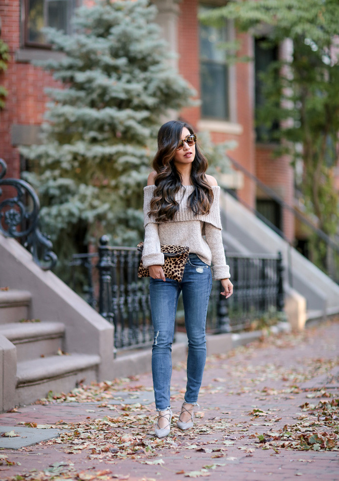 fall outfit ideas off shoulder sweater lace up heels
