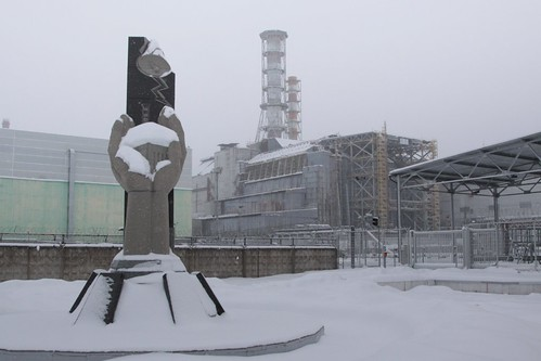 Standing 300 metres from the sarcophagus over Chernobyl reactor 4