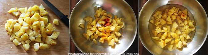 How to make Pineapple Puliserry - Step1