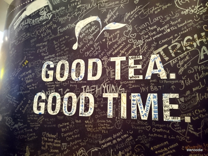 Chatime logo: Good tea. Good time