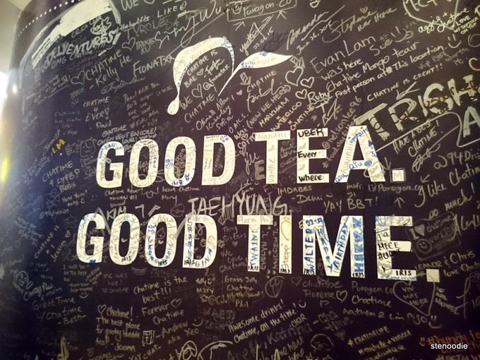 Chatime logo: Good tea. Good time