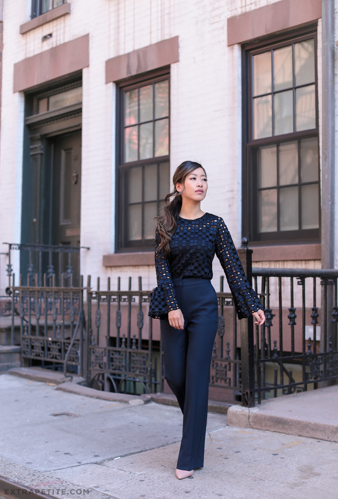 navy fall office outfit idea petite pants flare sleeves