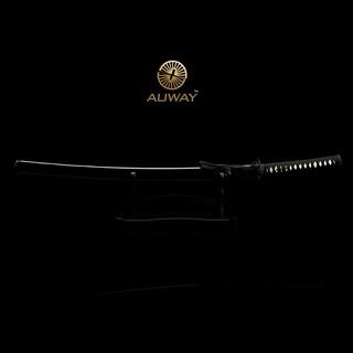 Auway-samurai-sword-Octagon-Tsuba-Black-scabbard-3