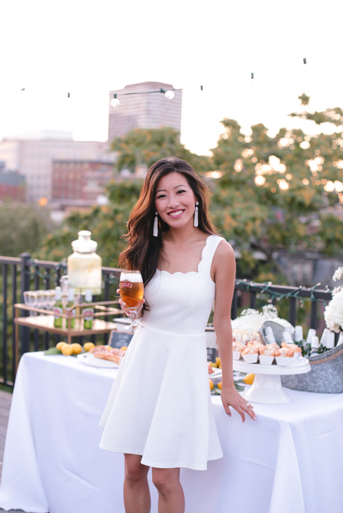 summer whites boston outdoor party scalloped dress