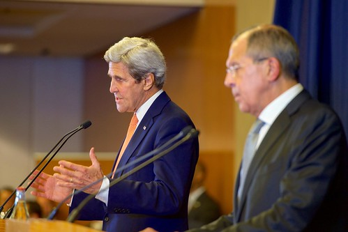 Secretary Kerry Addresses Reporters With Russian Foreign Minister Lavrov After Their Meeting in Geneva