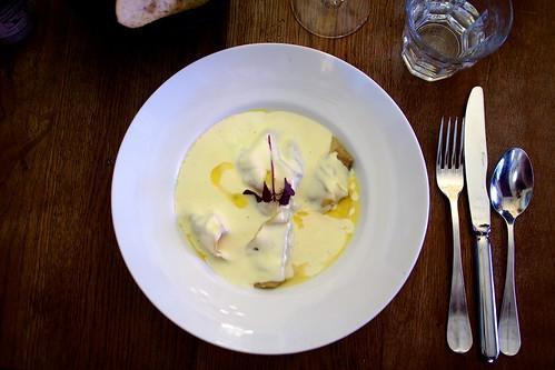 foie gras ravioli drizzled with truffle oil. Le Comptoir de la Gastronomie. Paris, France