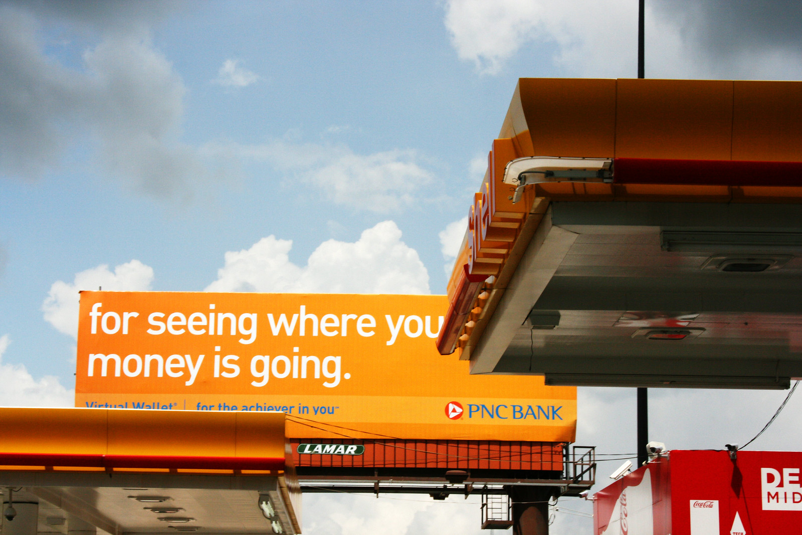 Dean's Midtown Shell Station and PNC Bank Sign