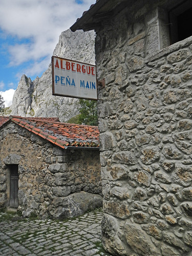 The stone Albergue in the village of Bulnes in Spain