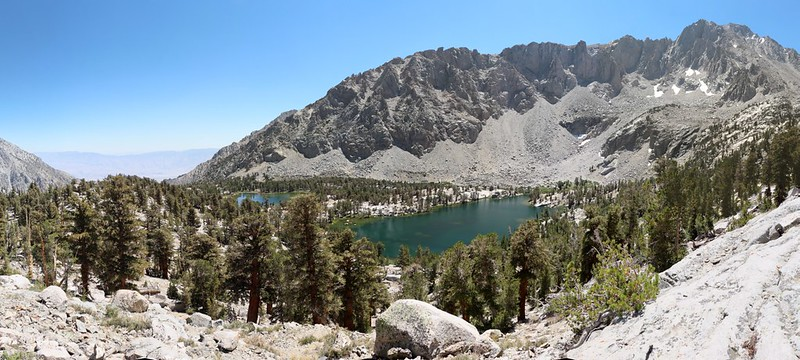 Panorama view looking down on the Matlock Lake basin from the west