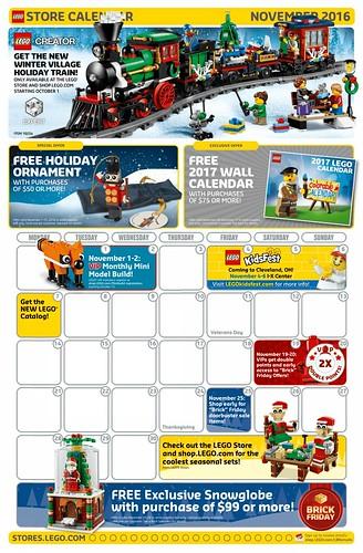LEGO November 2016 Store Calendar