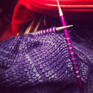 Finishing my sweater at #tedxvancouver. Severely underestimated the time it takes to knit sleeves. | by sweetgeorgia