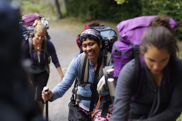 Anisha Desai hiking with youth