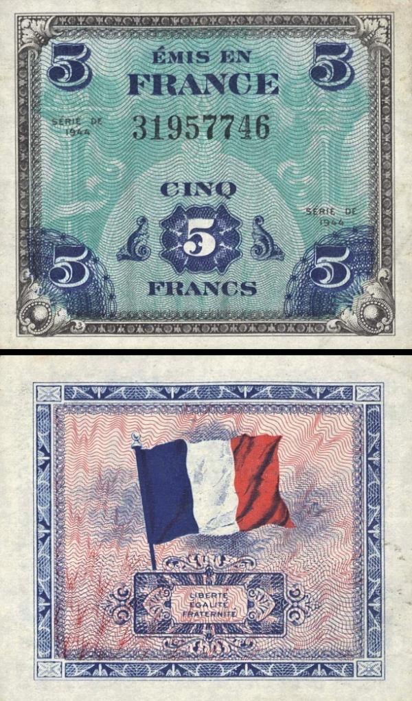 5 Frankov Francúzsko 1944, P115a
