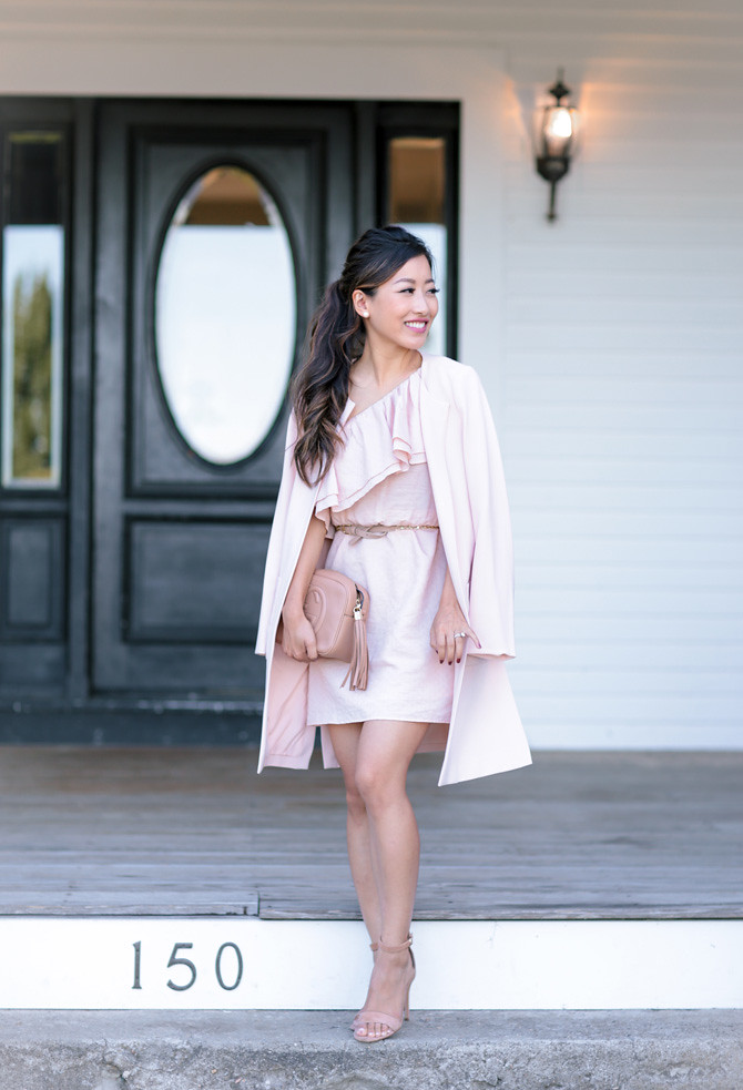 pink jacket dress wedding guest gucci soho disco tan