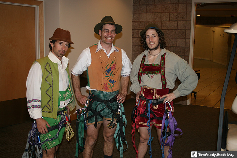 Working in Vegas for a corporate anniversary - wearing mock lederhosen we had a little skit and ascended ropes off the stage. I felt really sick that weekend. Eric Ruderman, Tom G, and Andy M.