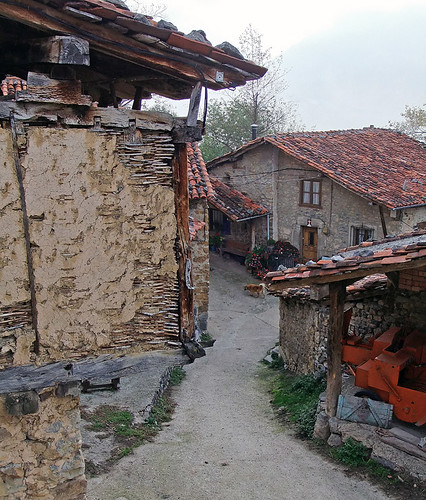Narrow road through a village in the Picos de Europa of Northern Spain