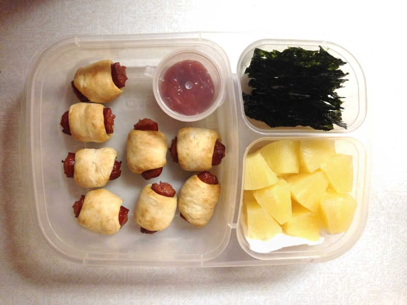 Pigs in a blanket, seaweek, & pineapple