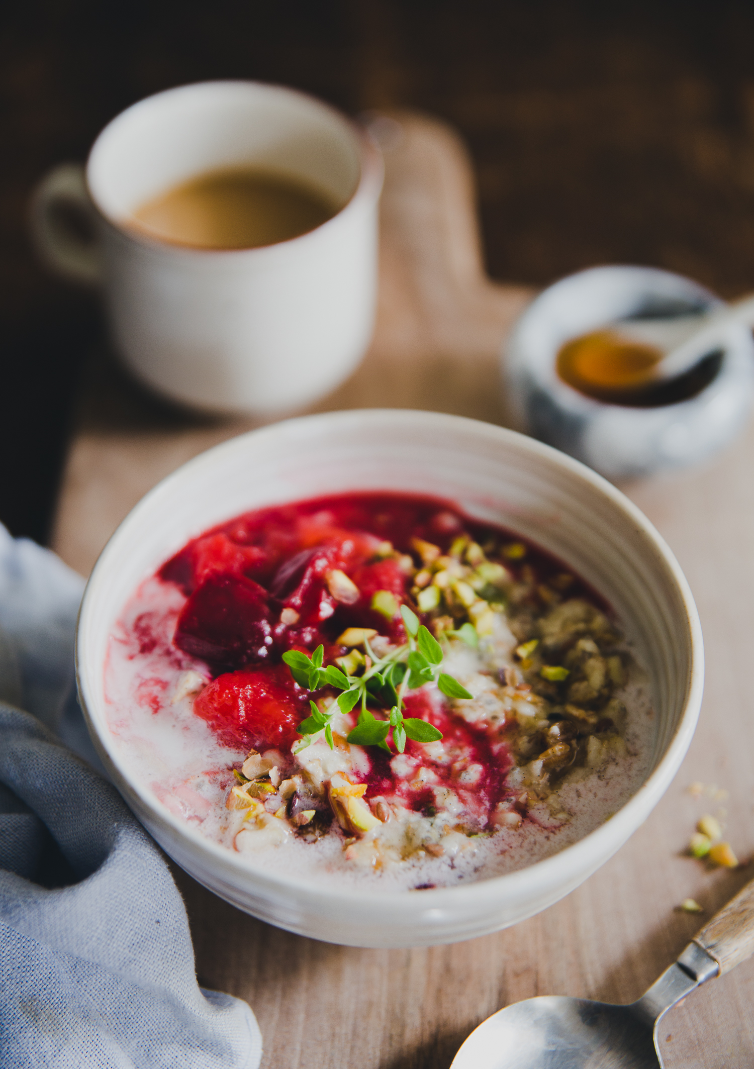 Bircher Muesli with Warm Plums & Spruce Syrup | Cashew Kitchen9964