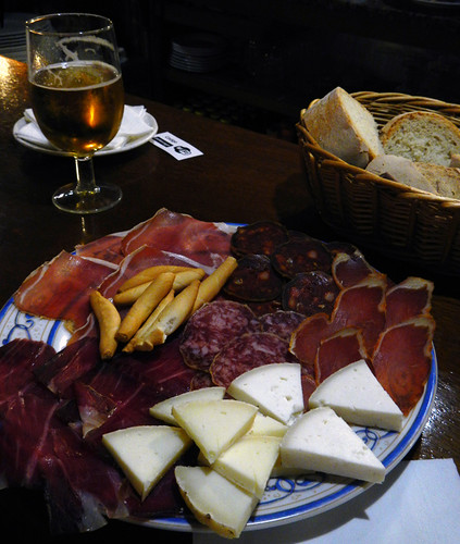 Meat and cheese plate at the Casa Cayo in Potes, Spain