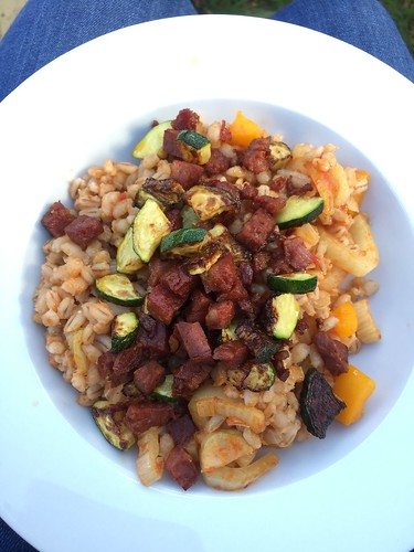 Pearl Barley with veg and chorizo