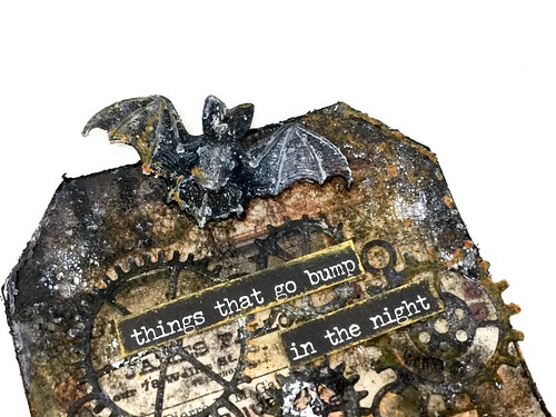 Meihsia Liu mixed media tag Halloween Simon says stamp Monday challenge Tim Holtz