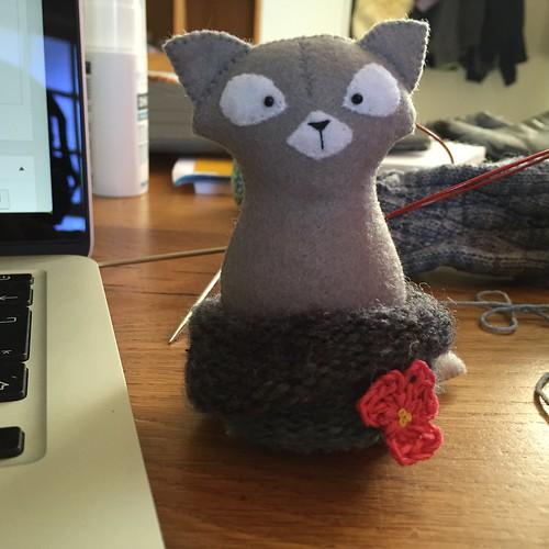 felt cat in cowl, by Amuru on etsy
