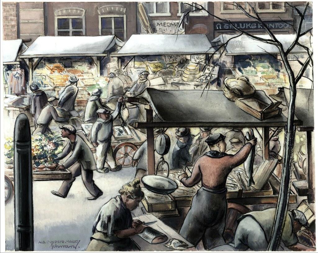 Marché de Cuypmarkt à Amsterdam dans les années 30.
