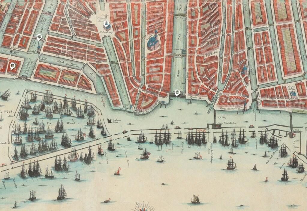 Carte interactive d'Amsterdam au 17e siècle : http://atlassen.hetscheepvaartmuseum.nl/