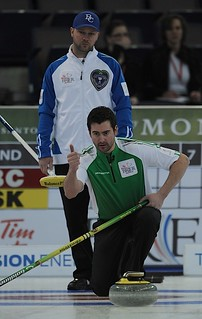 Edmonton Ab.Mar4,2013.Tim Hortons Brier.Sasktachewan skip Brock Virtue,B.C. skip Andrew Bilesky.CCA/michael burns photo | by seasonofchampions