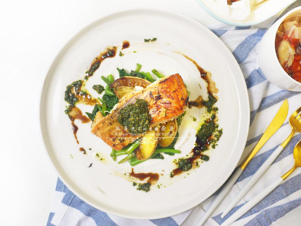 孤身廚房-烤鮭魚排佐香料烤南瓜及蒜香皇宮菜21